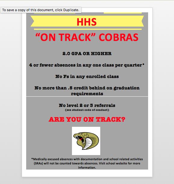 """HUDSON """"ON TRACK"""" COBRAS"""